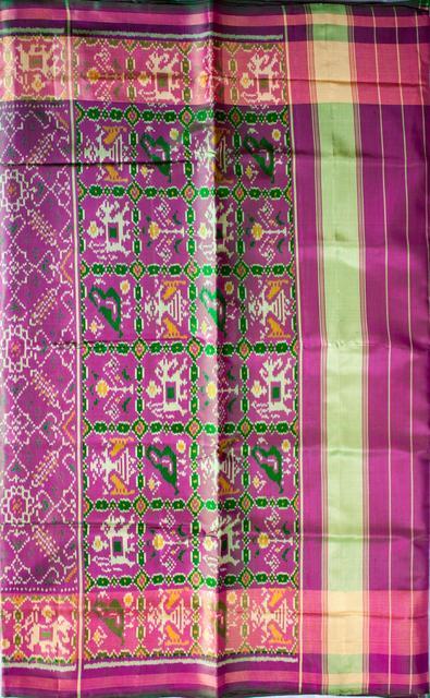 Single Ikat Patola Saree Handwoven-Pure Silk-Pink- Green dual shade