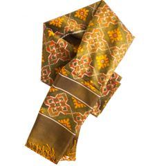 Pure Silk Single Ikat Patola Stole 24 Inch