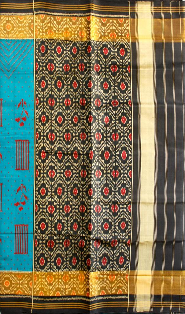 Single Ikat Patola Saree Handwoven-Pure Silk-Blue-Black