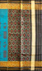 Single Ikat Patola Saree Handwoven-Pure Silk-Blue-Black