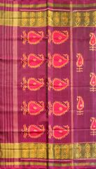 Single Ikat Patola Saree Handwoven-Pure Silk-Magenta
