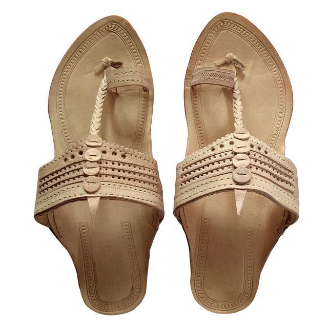 Kolhapuri Men Tan Sandal-Pasting Puda