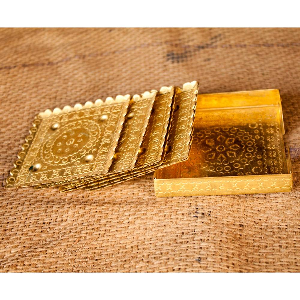 Hand Crafted Brass Tea Coaster ( Set of 6)