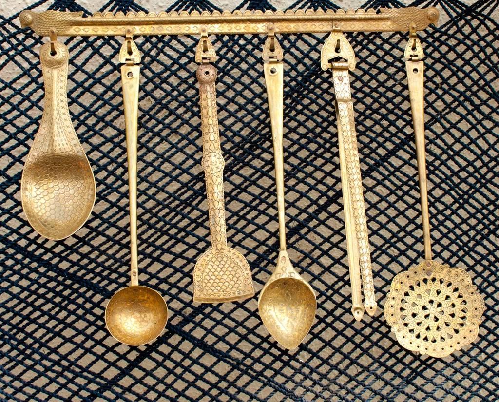 Hand Crafted Brass Kitchen Set- 6 Pieces