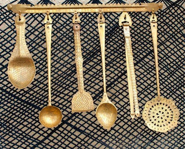 Hand Crafted Brass Kitchen Set- 6 Pieces