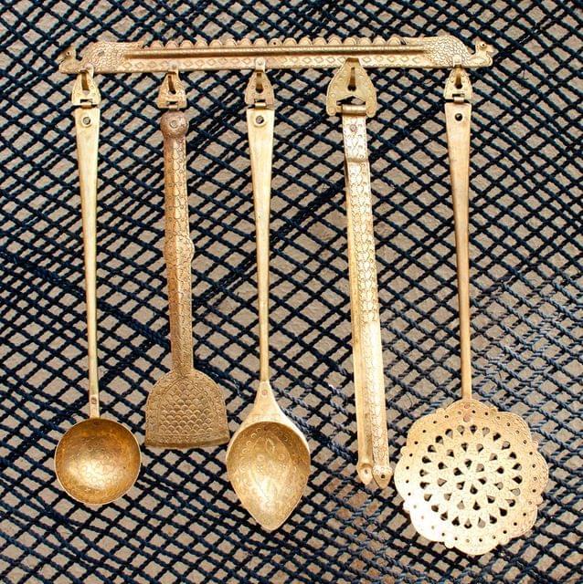 Hand Crafted Brass Kitchen Set- 5 Pieces