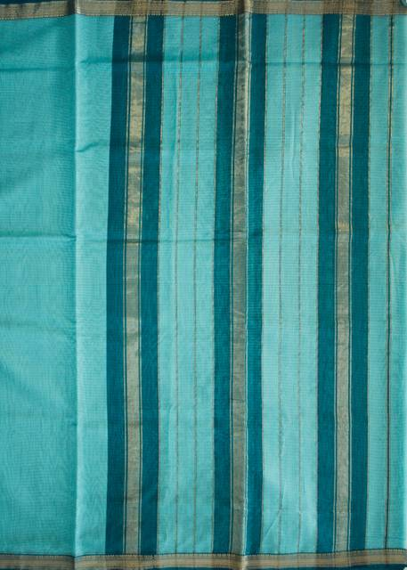 Maheshwari Handwoven Cotton-Silk Saree-Sky Blue