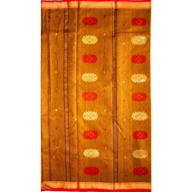 Maheshwari Handwoven Cotton-Silk Saree-Orange