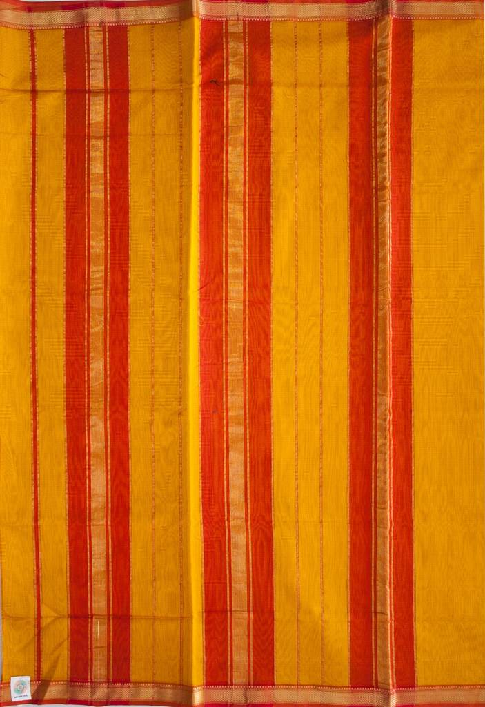 Maheshwari Handwoven Cotton-Silk Saree-Orange-Yellow