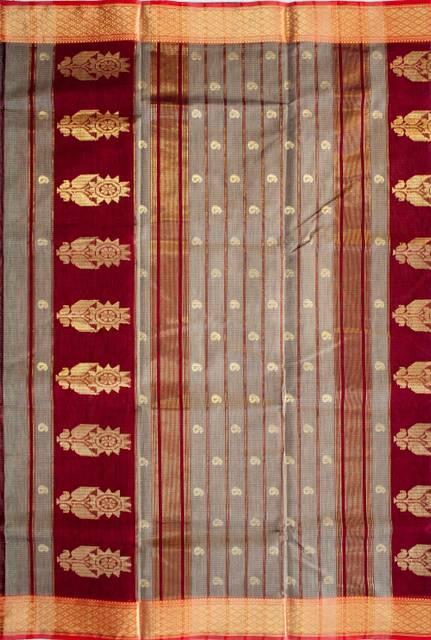 Maheshwari Handwoven Cotton-Silk Saree-Grey and Maroon