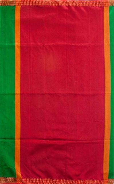 Maheshwari Handwoven Cotton-Silk Saree-Green and Red