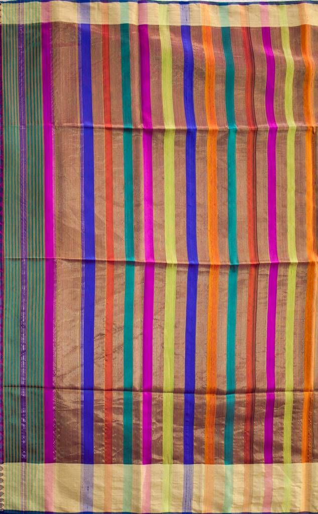 Maheshwari Handwoven Cotton-Silk Saree-Mulberry Silk-Dual Shade
