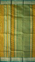 Maheshwari Handwoven Cotton-Silk Saree with Bagh Print-Yellow