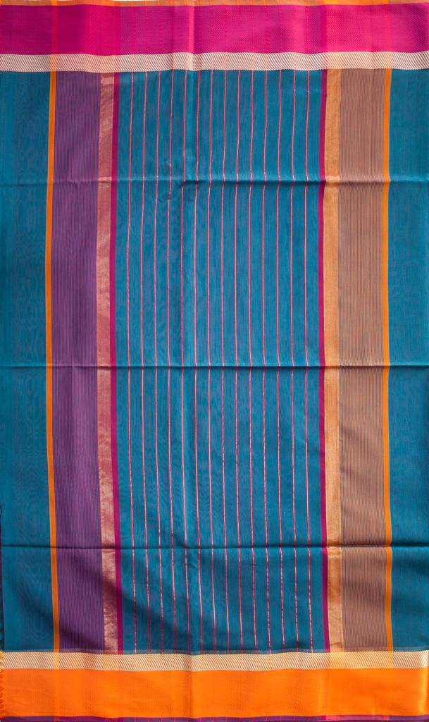 Maheshwari Handwoven Cotton-Silk Saree-Blue