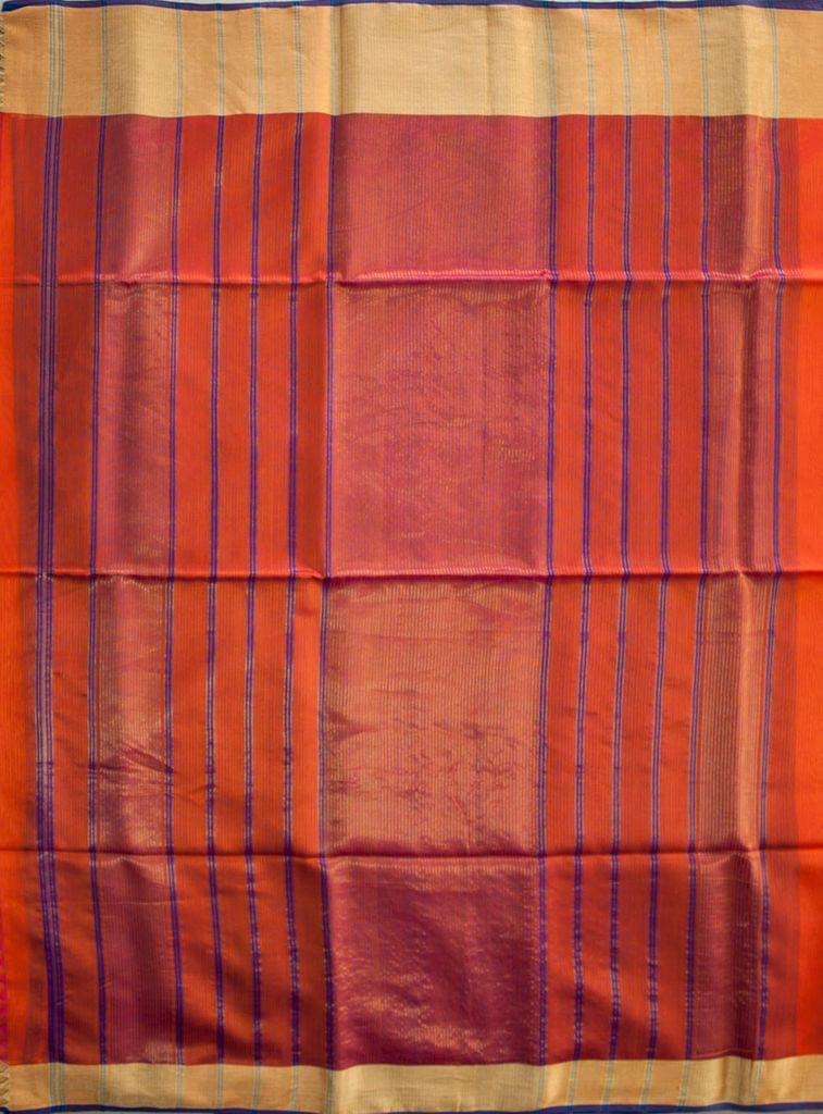 Maheshwari Handwoven Cotton-Silk Saree-Mulberry Silk-Orange