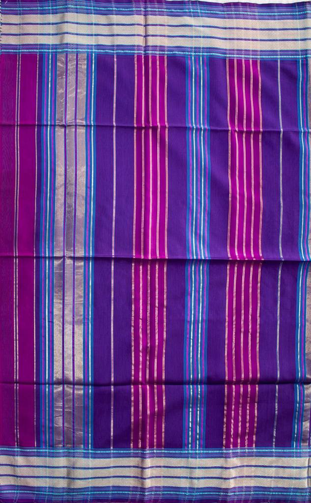 Maheshwari Handwoven Cotton-Silk Saree-Purple