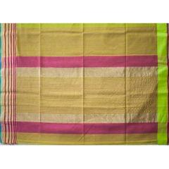 Maheshwari Handwoven Cotton-Silk Saree with Broad Zari Border