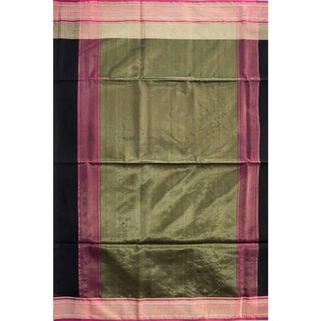 Maheshwari Handwoven Cotton-Silk Saree with Check and Diya Border