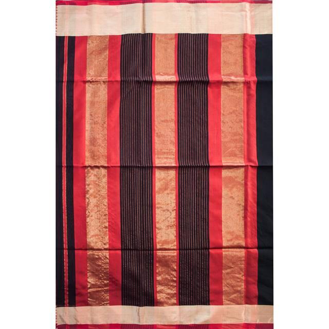 Maheshwari Handwoven Cotton-Silk Saree-Black