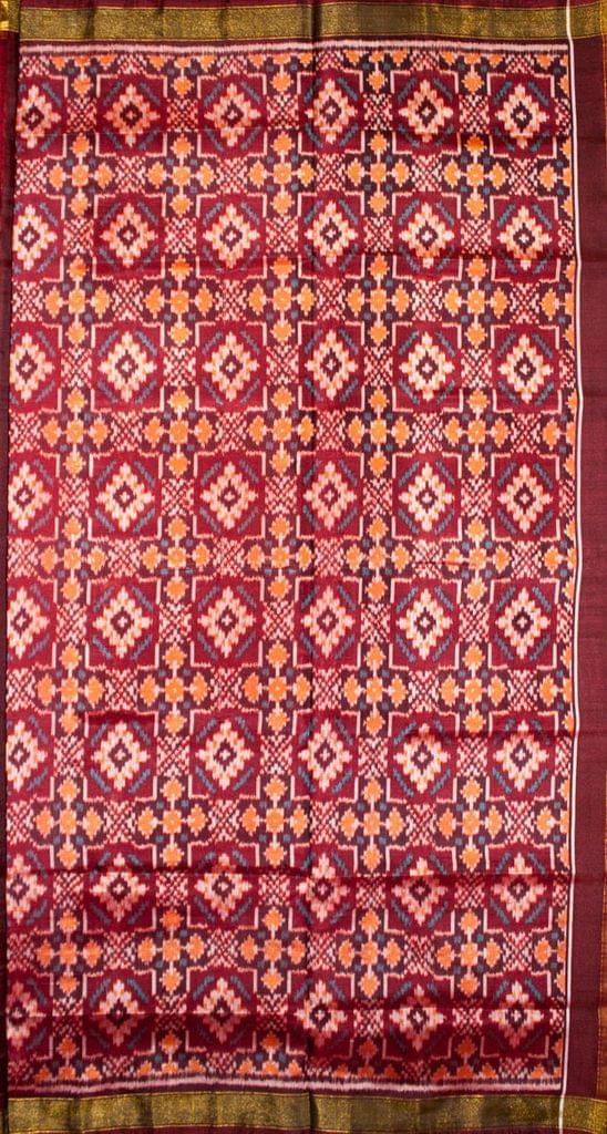 Single Ikat Patola Saree Handwoven-Pure Silk-Maroon