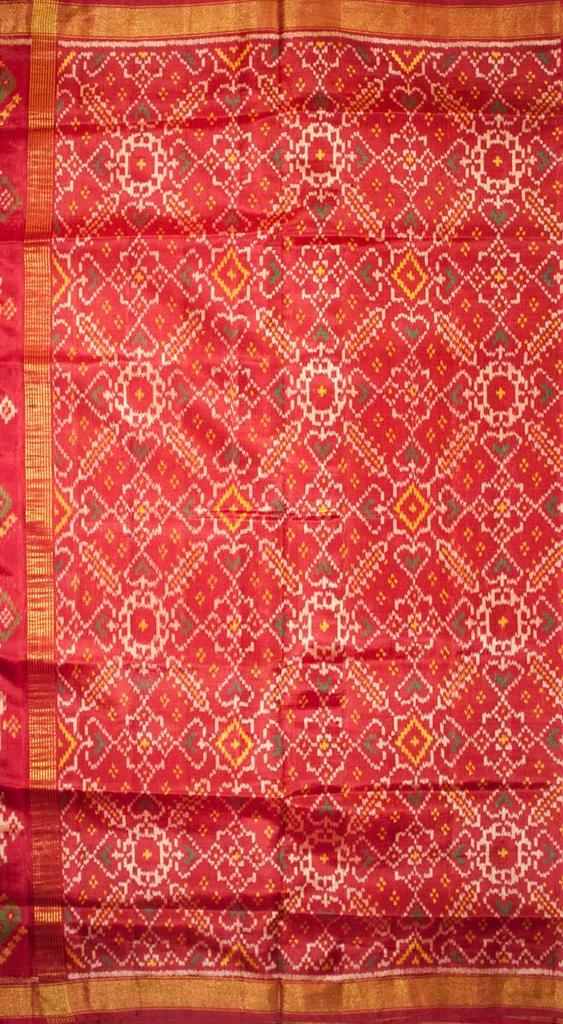 Single Ikat Patola Saree Handwoven-Pure Silk-Red