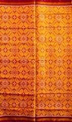 Single Ikat Patola Saree Handwoven-Pure Silk-Yellow