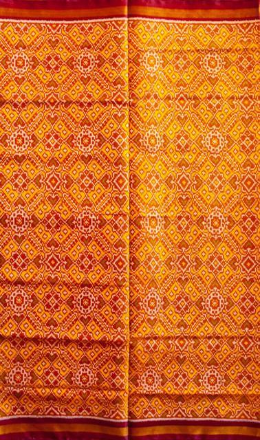 Single Ikat Patola Saree Handwoven-Pure Silk-Yellow