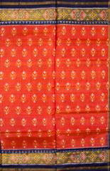 Single Ikat Patola Saree Handwoven-Pure Silk-Orange-Red