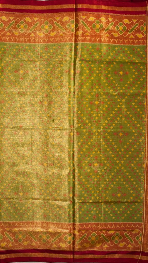 Single Ikat Patola Saree Handwoven-Pure Silk-Mehendi Green with Heavy Zari Work