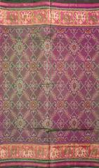 Single Ikat Patola Saree Handwoven-Pure Silk-Magenta