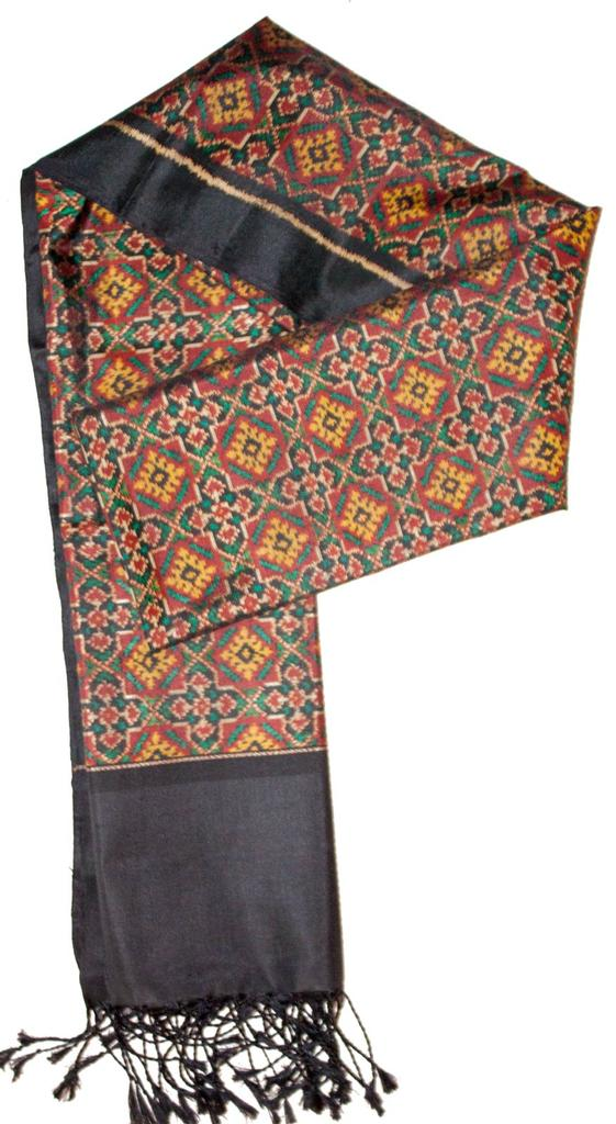 Pure Silk Single Ikat Patola Stole 24 Inch-Award winning Micro Design