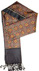 Pure Silk Single Ikat Patola Stole 24 Inch-Award winning Micro Design