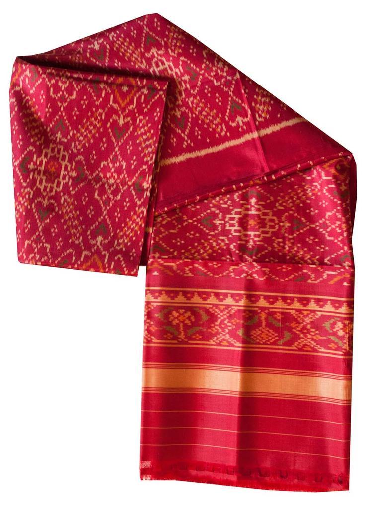 Pure Silk Single Ikat Patola Stole 48 Inch