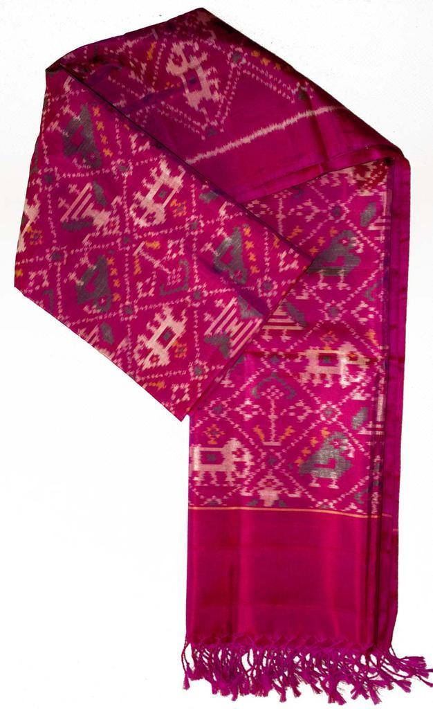 Pure Silk Single Ikat Patola Stole 36 Inch