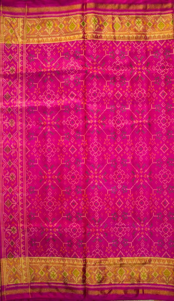 Single Ikat Patola Saree Handwoven-Pure Silk-Pink