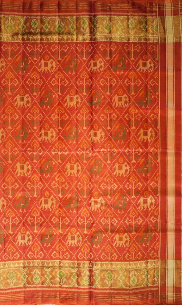 Single Ikat Patola Saree Handwoven-Pure Silk-Orange