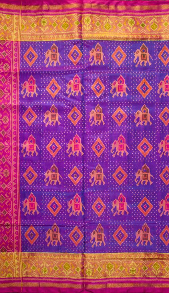 Single Ikat Patola Saree Handwoven-Pure Silk-Pink and Blue
