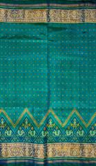 Single Ikat Patola Saree Handwoven-Pure Silk-Blue Dual Shade