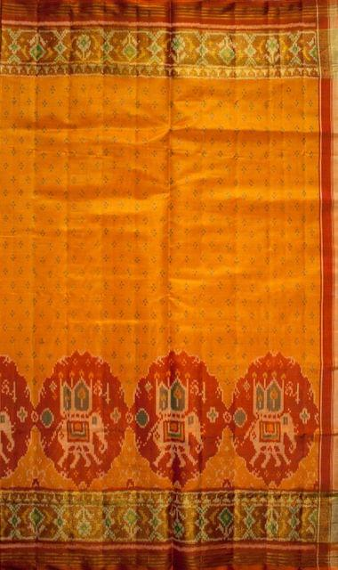 Single Ikat Patola Saree Handwoven-Pure Silk-Orange and Green