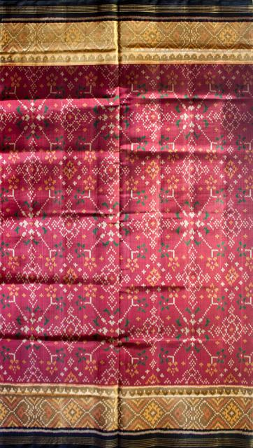 Single Ikat Patola Saree Handwoven-Pure Silk- Maroon And Black