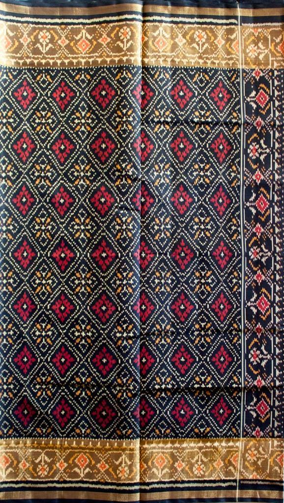 Single Ikat Patola Saree Handwoven-Pure Silk-Black