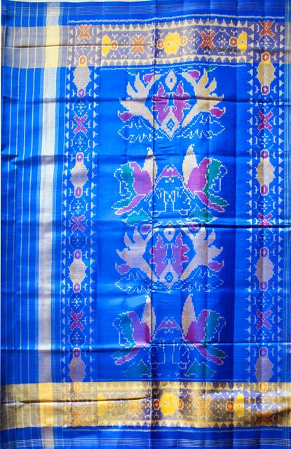 Single Ikat Paan & Mor Patola Saree Handwoven-Pure Silk- Blue