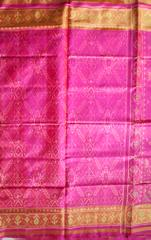 Single Ikat Popat Patola Saree Handwoven-Pure Silk-Pink