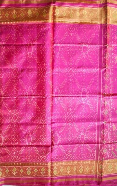 Single Ikat Popat Patola Saree Handwoven-Pure Silk-Pink
