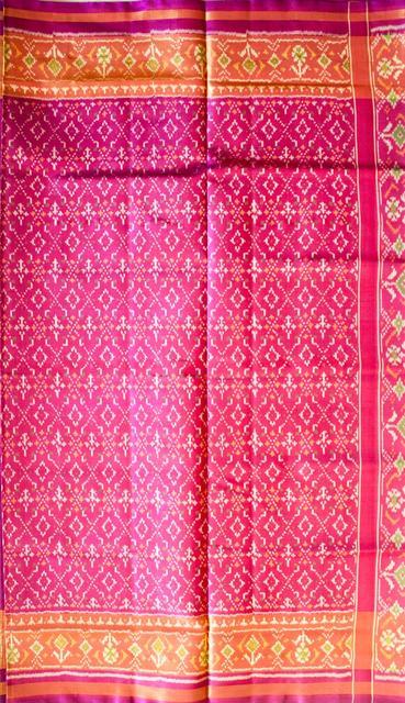 Single Ikat Patola Saree Handwoven-Pure Silk-Pink
