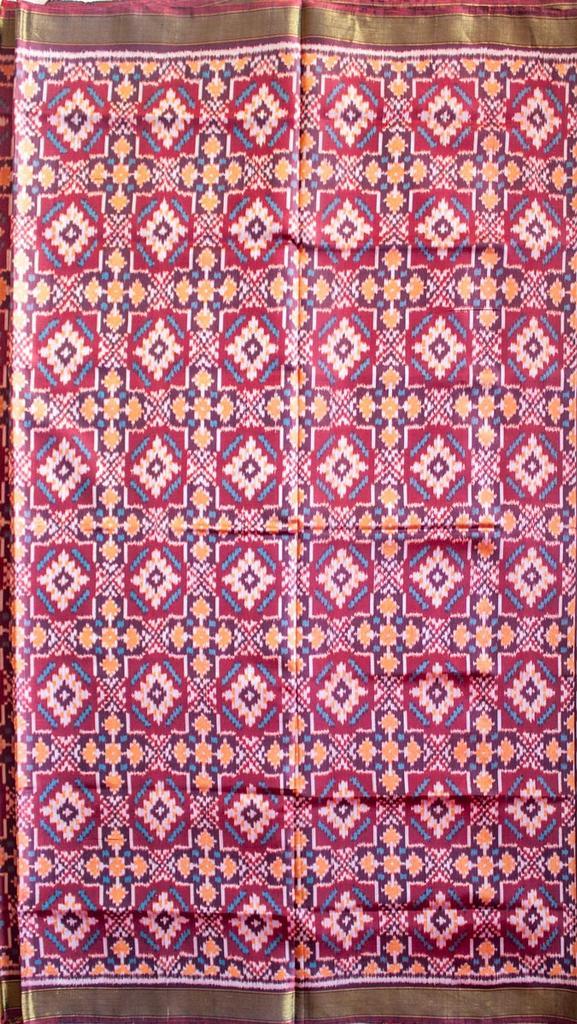 Single Ikat Patola Saree Handwoven-Pure Silk-Purple and Brown
