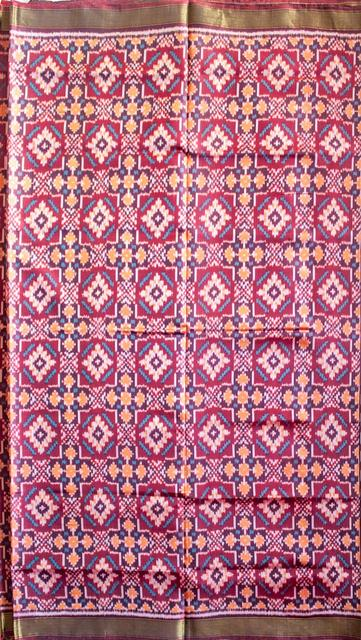 Single Ikat Patola Saree Handwoven-Pure Silk-Purple and Brown