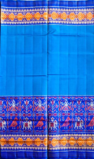 Single Ikat Patola Saree Handwoven-Pure Silk-Blue