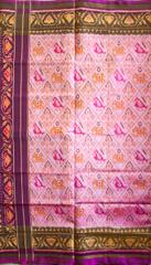 Single Ikat Patola Saree Handwoven-Pure Silk-Cream and Purple