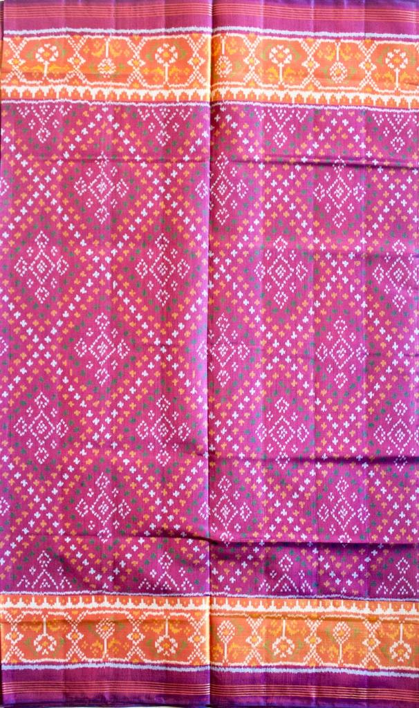 Double Ikat Patola Saree Handwoven-Pure Silk-Purple
